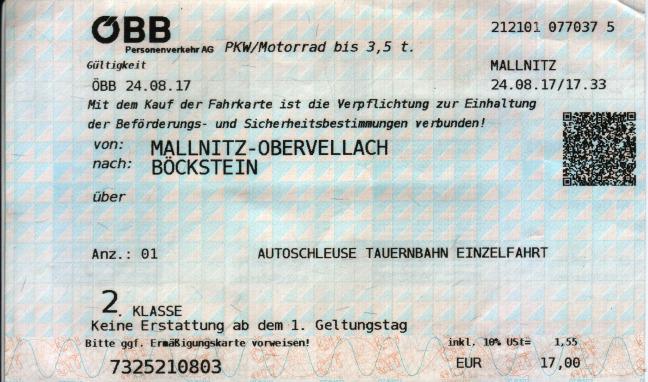 ÖBB Fahrkarte Autoschleuse Tauernbahn